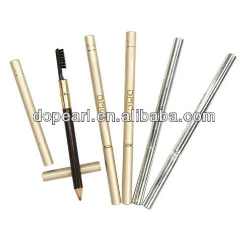 Waterproof eyebrow cosmetic pencil with brush