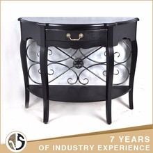 lobby decoration wood and iron Black Single drawer Console Table