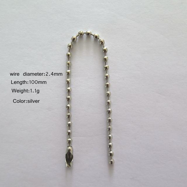 Silver Ball chain Beautiful Practical New Design Bead chain 2.4x100MM 50PCS Per Bag Ball Chain