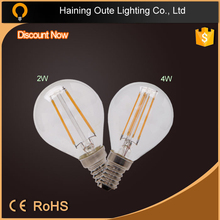 led light bulb clear brighter 4W 360 degree g45 filament led bulb with E14/e12
