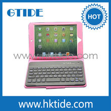 Pink leather case computer bluetooth mini keyboard for iPad/android tablet pc