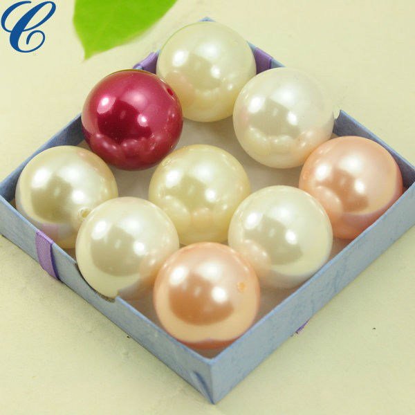 Large 40mm plastic pearl beads two holes
