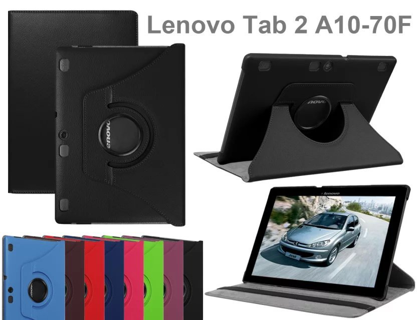 360 Rotating Stand Flip PU Leather Smart Tablet Cover Case For Lenovo Tab 2 A10-70F