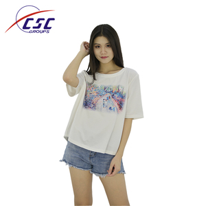 Factory Direct Custom Printed Breathable Summer Tops Women Ladies Blouse Custom White T Shirt