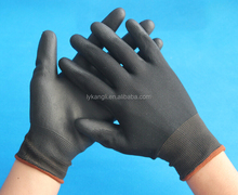 black PU coated working safety gloves for electrical factory