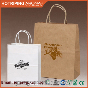 Recycled kraft paper gift bag, paper shopping bag with handle
