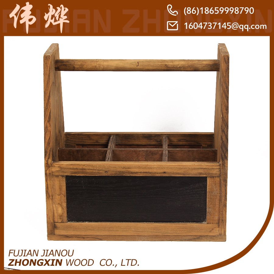Factory price wooden portable wine carrier crate