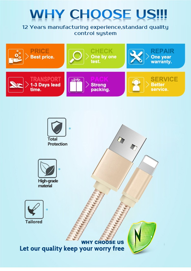 USB date charger for iphone, Automatic Power off LED Data Cable for iphone