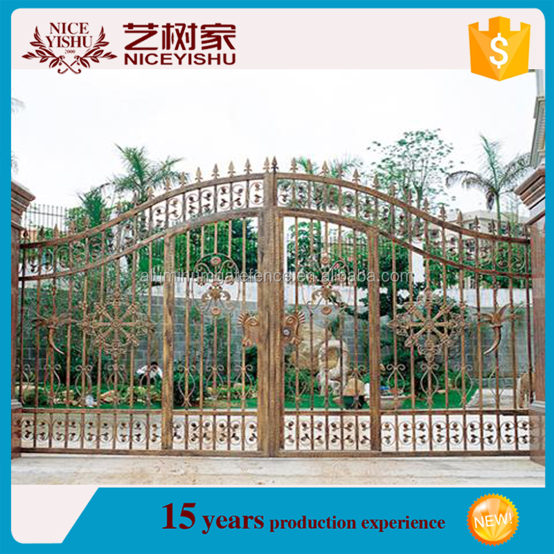 wrought iron modern double swing driveway gate/Decorative Metal gate Parts