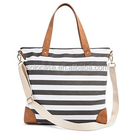 Stripe Print PU Tote Handbag with Removeable Crossbody Strap