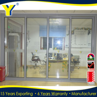 Double glazed thermally broken sliding glass room dividers