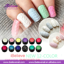 Profession Charming Easy Soak off 3D Sweater Carving UV Gel Polish for Nail Art