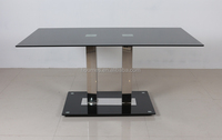 stainless steel tube glass top dining table