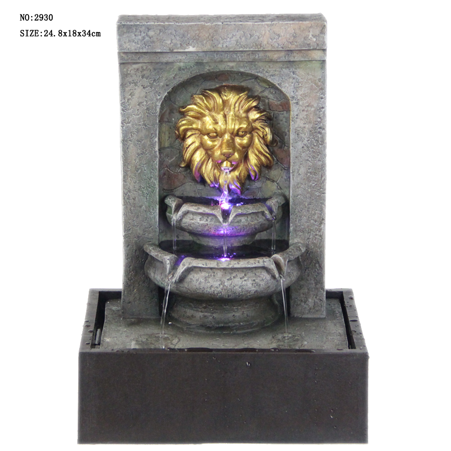 Soothing Lion Head Wall Mounted Water Fountain