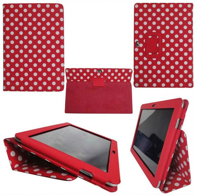 Polka Dots Leather Case Cover for Samsung Galaxy Tab P7500 P7510 2013 Custom leather sleeve