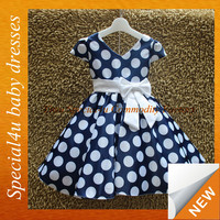 One piece girls party dresses polka dots baby party dresses girl dress 2-6 year SPSY-1077