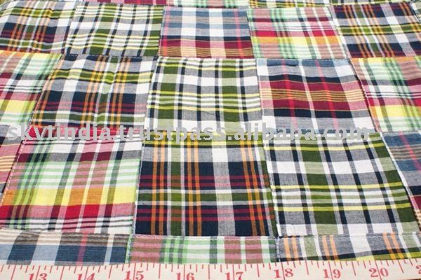 100% YARN DYED CHECK LATEST DESIGN PATCH WORK FABRIC