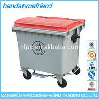 1100 liters Outdoor mobile plastic dustbin,large garbage bins,plastic trash can