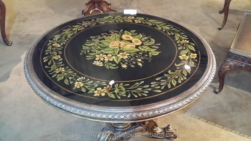 Center table Oil hand painted flowers European Antique style - Daniele Furniture