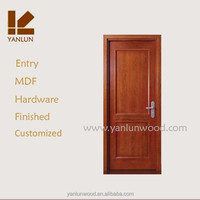 Qingdao factory customize finished MDF veneer 2 shaker panel american style entry doors