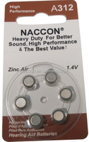 A312 zinc air hearing aid battery 1.4V button cell