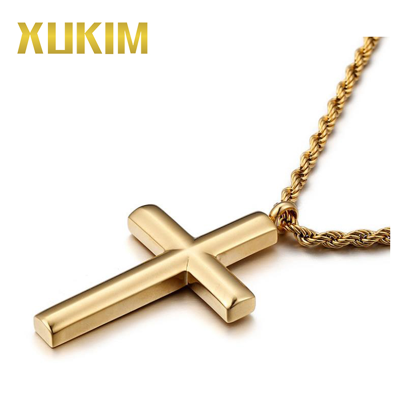 CP064 Xukim 925 Silver Cross <strong>Pendant</strong> 18K Gold Necklace