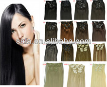 7pcs clip in hair extensions 777 straight synthetic hair Japan high temperature fiber GOOD QUALITY