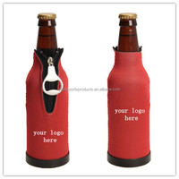 Custom logo brand insulated beverage cooler with bottle opener plastic base,zipper beer bottle cooler case cover