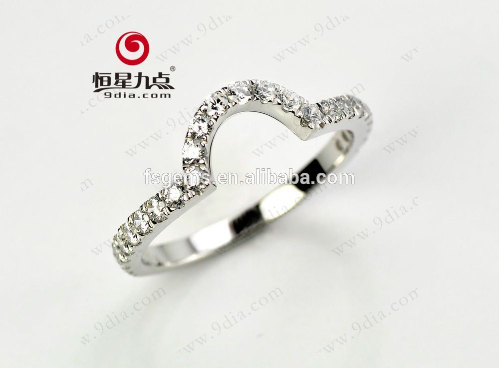 2019 USA New Style  Hot Sale  High Quality Custom 18K White Gold Engagement Ring Set