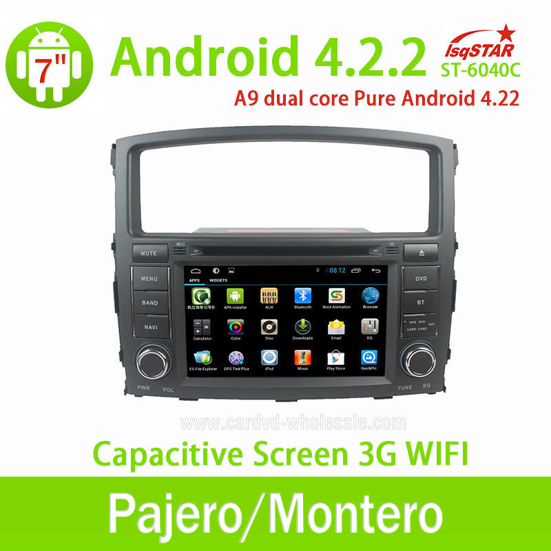 Wholesale Dual Core CPU 1G RAM Multi-touch Capacitive Screen 3G Wifi Fit for Mitsubishi Pajero Android 4.2.2 Car Radio With Gps