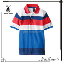 Good Quality Colorful Red Blue and White Striped Polo Shirt Designs