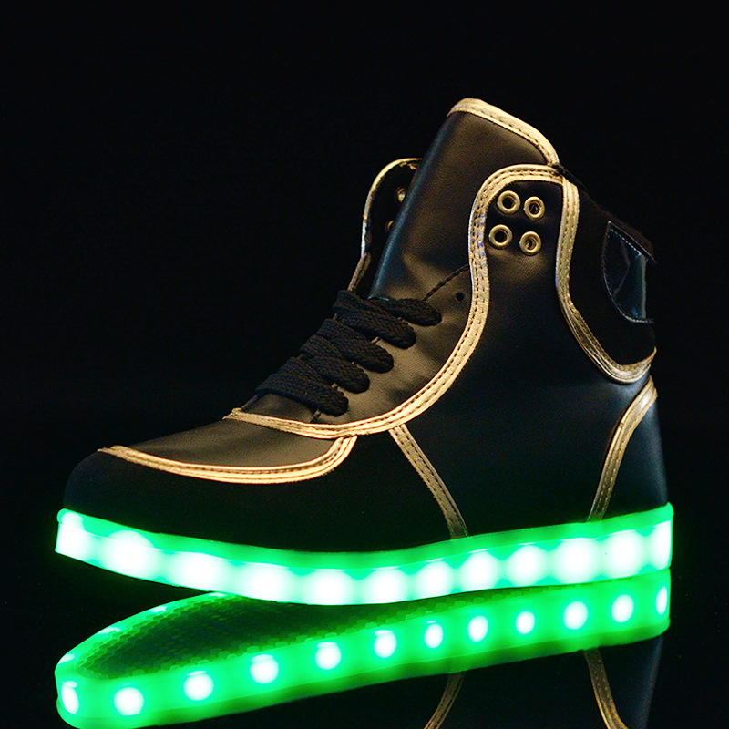 Men Shoes 2017 Hot New Products High Cut USB Charging Light Up Shoe Luminous Led Shoes For Men