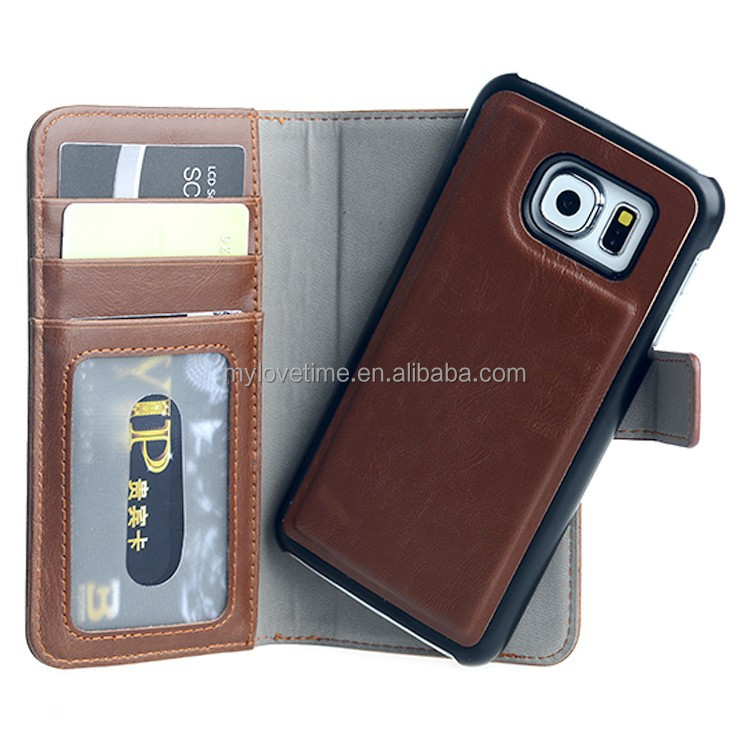 Excellent detachable housing design magnetic leather wallet case for samsung s6