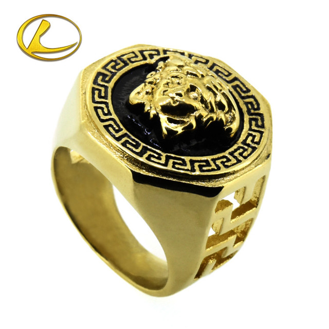 Face avatar new design ring stainless steel gold plated skull head rings