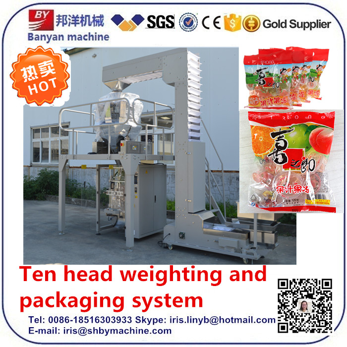 Automatic weighting and packaging machine for jelly cup snack