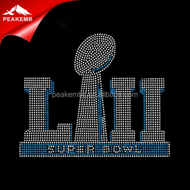 2018 Super Bowl 52 LII Football Rhinestones Iron On Transfer