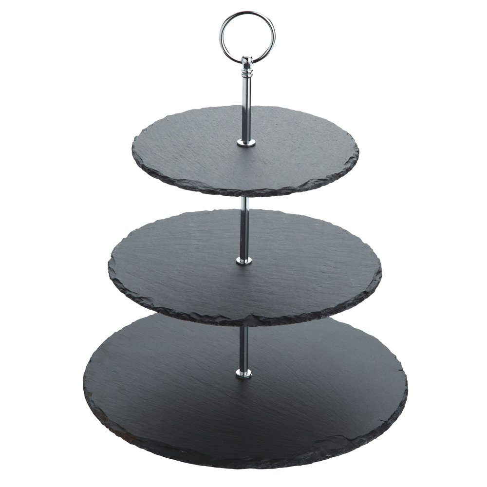 wholesale 3 layer natural slate food cake stand round tiered serving display platter for wedding and birthday parties