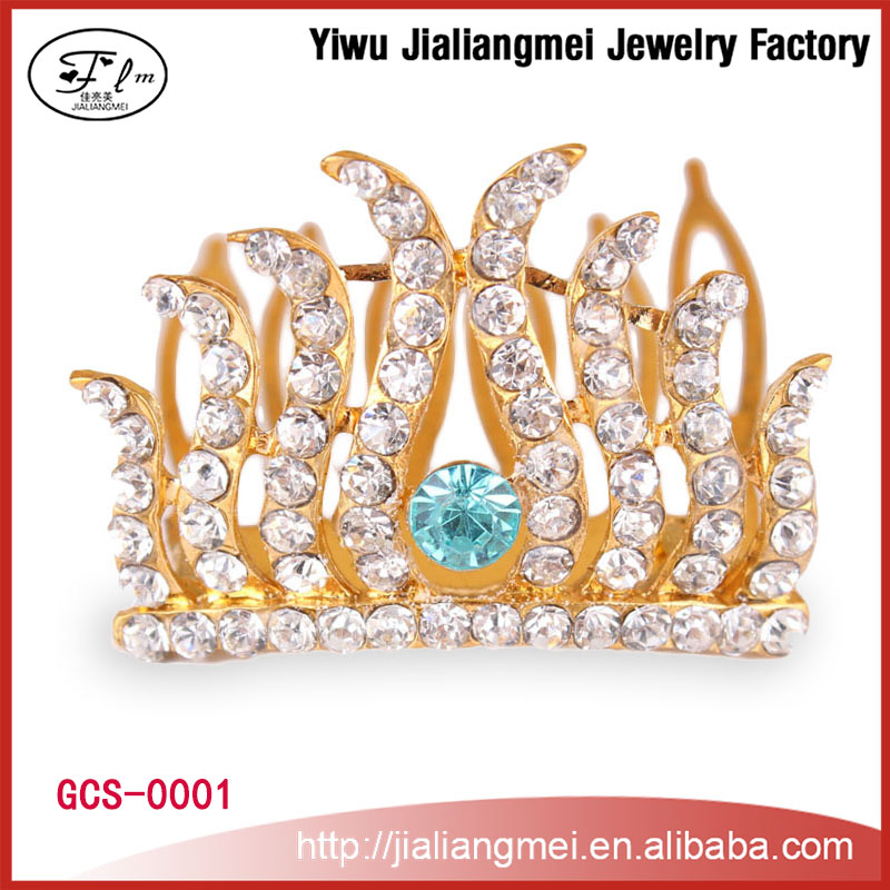 Princess metal head crown mini rhinestone tiara crown for girls