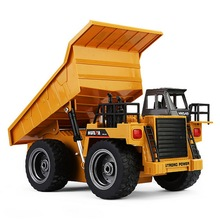 global drone HUINA 1540 1:18 2.4G 6CH RC Alloy Dump Truck Reinforced Alloy Rotate RC Excavator Engineering Car