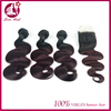 Brazilian virgin Hair 3pcs lot (4x4) Lace Closure with Bundle Hair body wave #1b/99j ombre color extensions