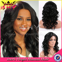 SHY fashion wave virgin brazilian full lace wigs with baby hair