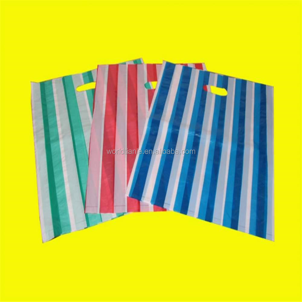 Custom printed logo color stripes die cut plastic bag for shopping packaging