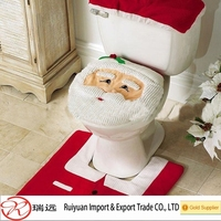 Santa cloth warm toilet seat cover, bathroom set for Christmas gift