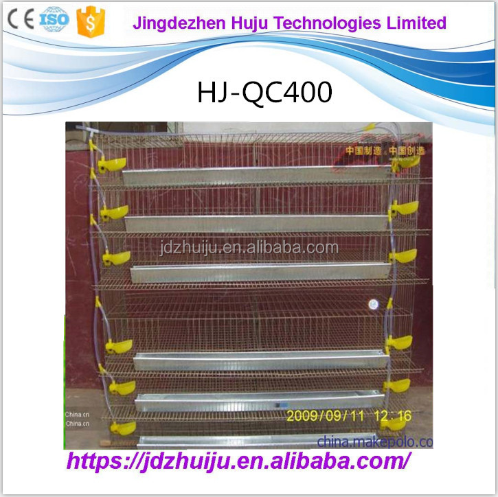 conventional design shape stainless steel quail cage for raising feeding 400 quals HJ-QC400
