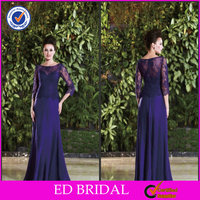 China Supplier Chiffon Floor Length Scoop Neck Long Sleeve Lace Appliqued Mother Of The Bride Dress Navy Blue