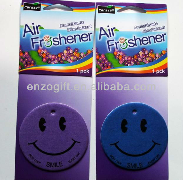 smile face hanging car paper air freshener V8 (CE test)