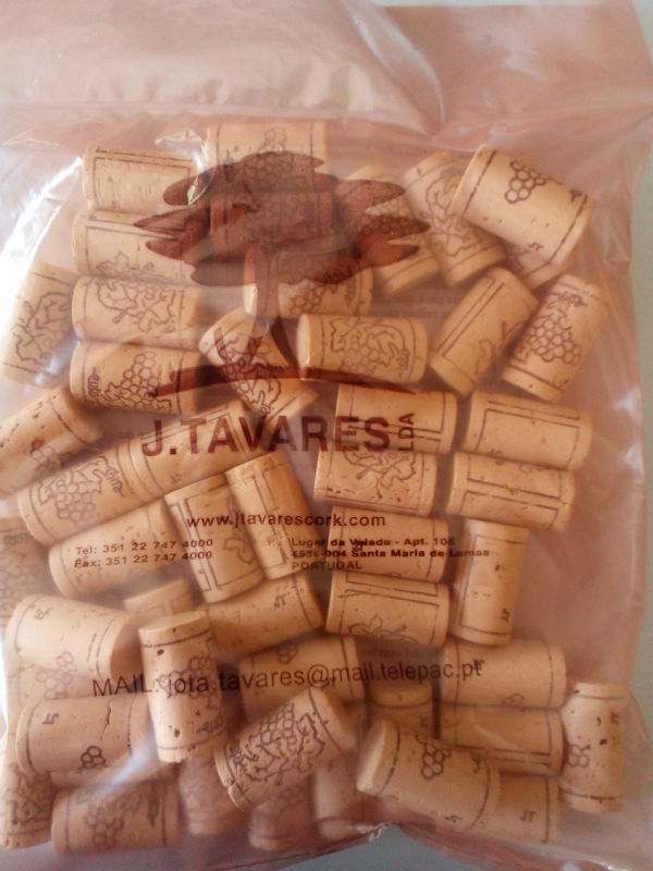 Small bags with Wine cork toppers , ready to bottle