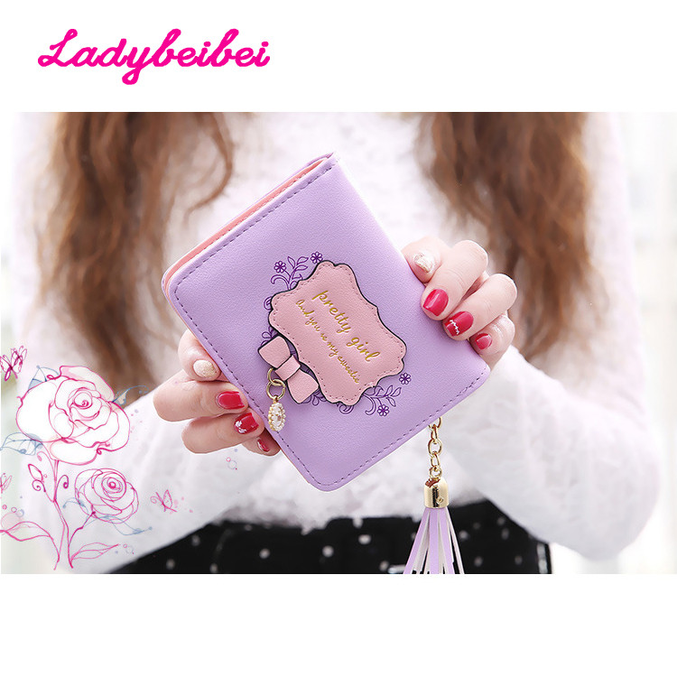 Excellent Quality Womens Wallet 2016 New PU Leather Vintage Womens Bifold Money Bag Card Holder Bowknot Wallet Purse For Gift