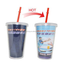 Bulk Buy From China Sedex 4 p And TCCC Audit Color Changing Clear Plastic Transparent Travel Mug With Lid And Straw