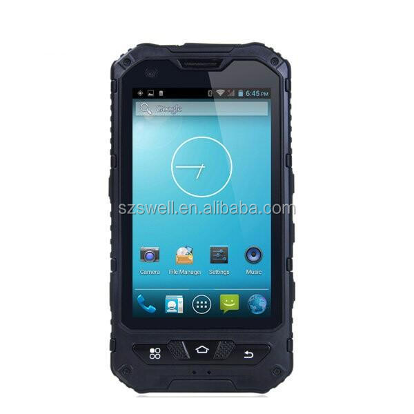 OEM smartphones waterproof IP67 large warehouse management 4inch quad core NFC GPS dual sim double camera mobile phone A8S
